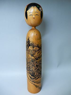 Very Classical Japanese Scenary Sansui Painting Traditional Kokeshi Doll H8.8""