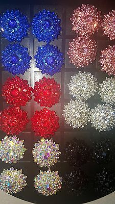 Joblot of 12 pairs Mixed colour Flower Diamante stud Earrings - NEW Wholesale