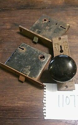 lot of 2 vintage cast iron rim door locks & PORCELAIN KNOB &  KEY PLATE 11077