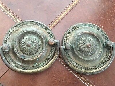 """Duncan Phyfe Brass Antique Hardware Oval Drawer Pull 2 7/8"""" x 2 7/8"""""""
