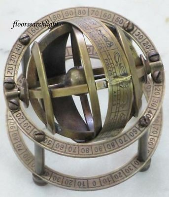 """COLLECTIBLE NAUTICAL SOLID BRASS TABLE TOP ARMILLARY ZODIAC SPHERE GLOBE 3.5"""" Ht"""