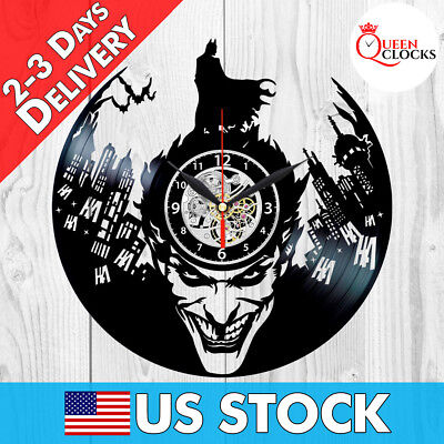 Joker Batman Vinyl Record Wall Clock Arkham Asylum Knight Comic Decor Best Gifts
