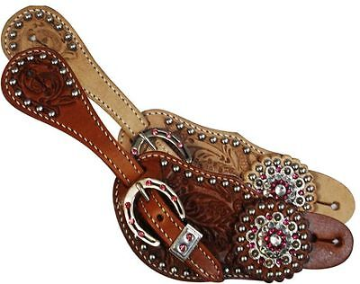 Showman Ladies Leather Spur Straps Acorn Tooled with Pink Crystal Rhinestones