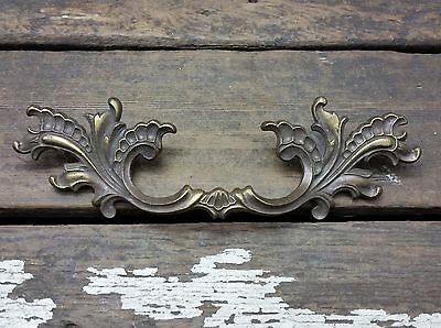 "VTG Antique Large Shabby Provincial Fancy BRASS Pull Handle Drawer 4 1/2"" CC*"