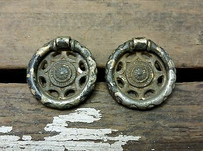 2 VTG Old SMALL Fancy Round Nickel BRASS Shabby Rustic Pull Handle Drawer Desk
