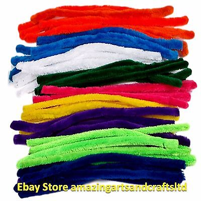 50 Giant Pipe Cleaners Chenille Stems 30cm x 12mm Assorted Colours Craft Pack