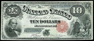1880 Usa $10 Dollar Legal Tender Jackass Note Fr. #113 Very Fine