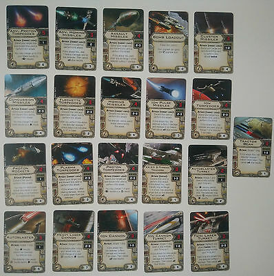 Star Wars X-Wing Upgrade Cards - Missiles / Torpedoes / Turrets / Cannons *MINT*