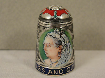 Peter Swingler Silver & Enamel THIMBLE: QUEEN VICTORIA. Kings & Queens Series