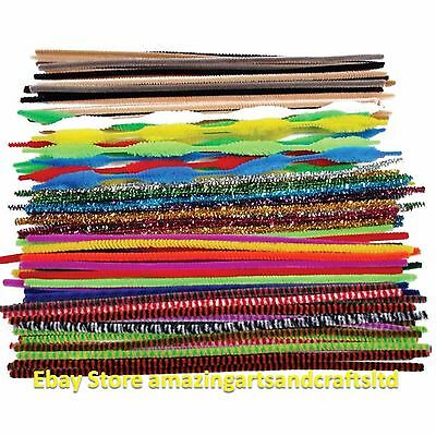 250 Chenille Craft Stems Pipe Cleaners 10 Colours 30cm x 6mm