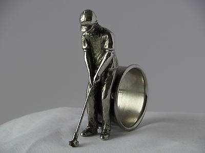 Golfer Figural Silver Plate Napkin Ring