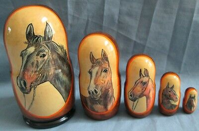 Horses Russian Nesting Doll Set/5-pcs Set/Hand Crafted/FREE SHIPPING IN US
