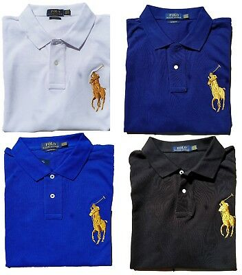 *NWT - POLO Ralph Lauren Big GOLD Pony Men's Polo Shirt - Custom Fit : S - 2XL
