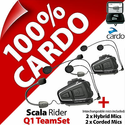 Cardo Scala Rider Q1 TeamSet Bluetooth Motorcycle Helmet Intercom Bike Headset