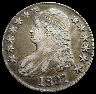 1827 Silver Us Curl Base 2 Capped Bust Half Dollar Coin Extra Fine Condition