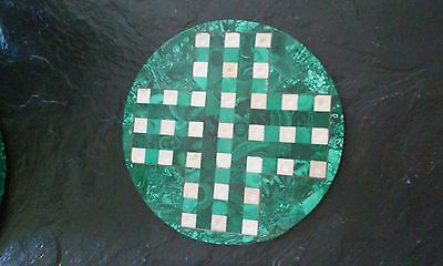 round malachite checker with grove [ 11'' ]