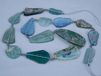 "Ancient Roman Glass Fragments Beads Strand C.200 Bc  """"k716"""""