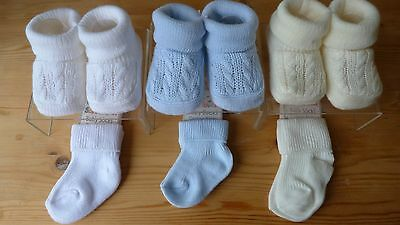 Knitted baby bootees and cotton socks blue, white and cream pack of six!!!!
