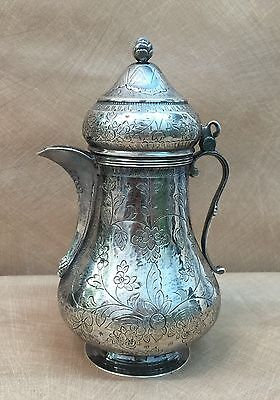 19th Century Ottoman Turkish Decorated Silver Coffee Pot.