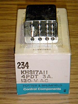 P&B Potter & Brumfield KHS17A11 120VAC Hermetically Sealed Relay -4PDT 3A NOS