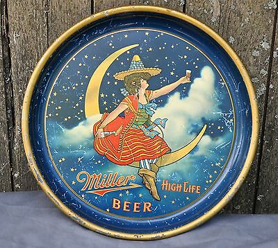 MILLER HIGH LIFE Advertising Beer Tray Girl on Moon VINTAGE OLD