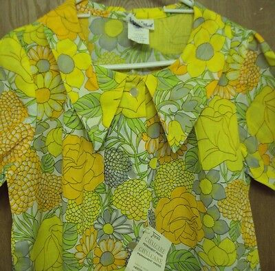 Vintage Housecoat Duster- Yellow Orange Flowers New Old Stock Nwt