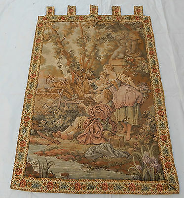 Vintage French Beautiful Romantic Scene Tapestry 107x77cm T390