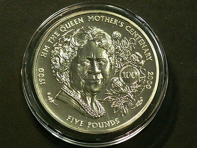 1900 2000 Guernsey  Queen Mother's Centenary 100  5 Pounds Crown #G6499