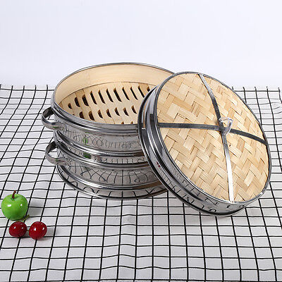 Dim Sum Basket Pasta Cooker Set Bamboo Lid 20CM 2 Tier Stainless Steel Steamer