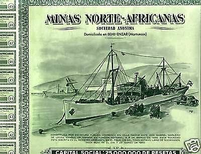 HUGE RARE MINT 1956 MOROCCO/SPAIN MINING BOND w OLD SHIP/TRUCK/AREA MAP a BEAUTY