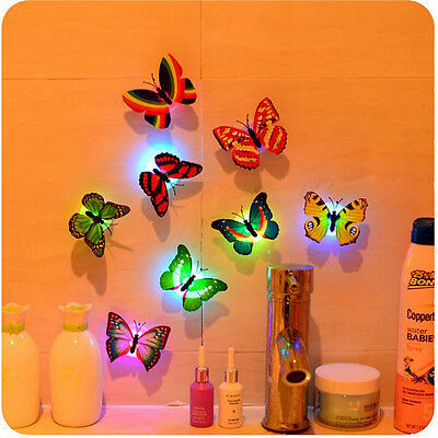 Colorful Changing Butterfly LED Night Light Lamp Home Desk Wall Decoration