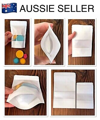 """Paper Stand Up """"Pouch Bags""""~Craft/Gift/Food Packaging (Clear Window + Ziplock)~"""