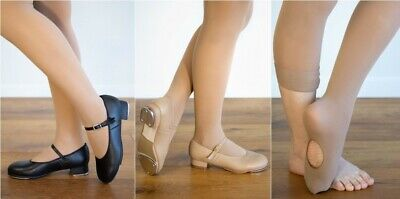 TAP DANCE COMBO - Black OR Tan Tap Shoes AND Skin Tone (Tan) Convertible Tights