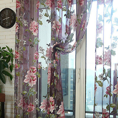 Colorful Tulle Voile Door Window Curtain Flower Drape Panel Sheer Scarf Valances