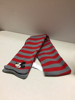 Disney Mickey Mouse Striped Red & Grey Scarf Kids One Size Fits 5-8 Year