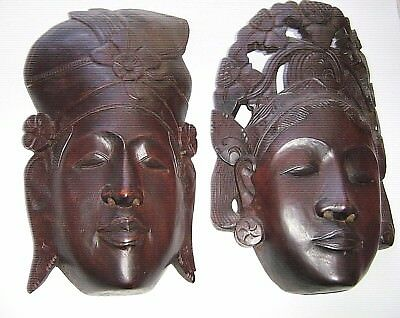 PAIR antique 1950  hand carved wood  TRADITIONAL Indonesian  headresses