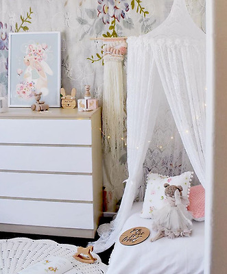 Lace Kid's Boho Bed Canopy - Play Tent for Reading Nook - Baby Mosquito Net