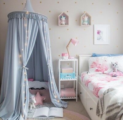 Grey Kid's Bed Canopy - Play Tent for Reading Nook - Baby Mosquito Net