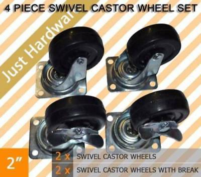 "4 PCS 2"" SWIVEL CASTOR CASTER WHEEL 2 brakes 50mm 2 Swivels Casters"