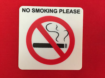 No Smoking Please Sign, Self-Adhesive Stick-On,  5.5cm x 5.5cm