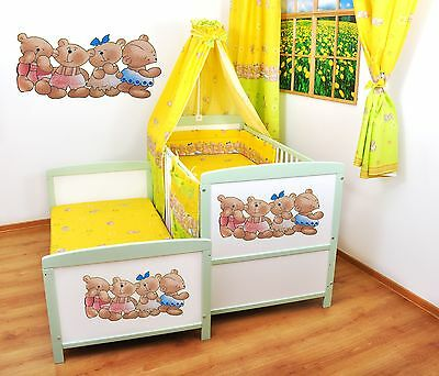 NEW WHITE-GREEN 2in1 COT-BED 120x60 - BEARS -12 PIECE BEDDING - MATTRESS FREE