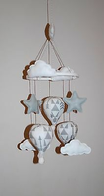 Handmade  hot air balloon nursery unisex baby mobile monochrome tribal arrows