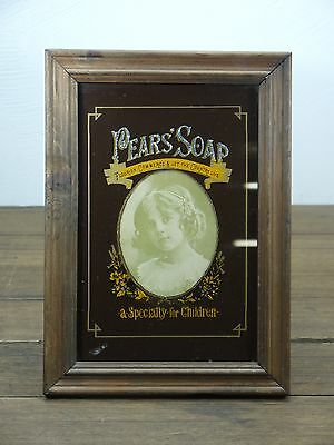 RARE c.1920 'PEARS' SOAP' GLASS PRINT SILVER FOIL ADVERTISING SIGN ART DECO
