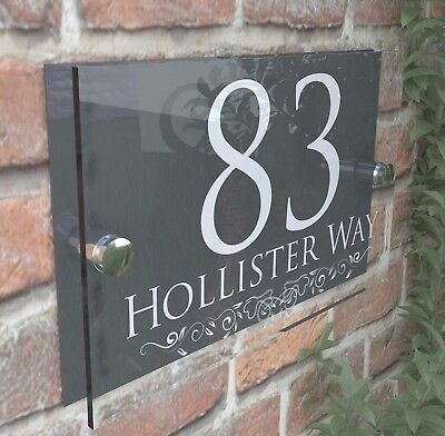 Decorative House Signs Plaques Door Numbers 1 - 999 Personalised Name Plate
