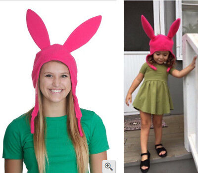Louise Pink Bunny Ears Hat Bob's Burgers Cosplay Costume Halloween