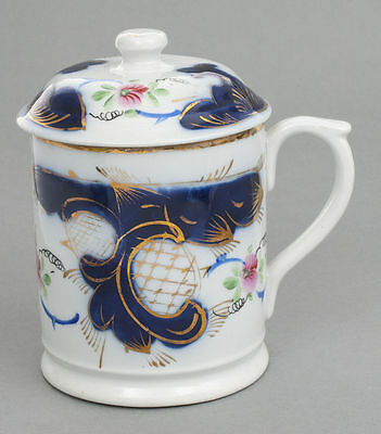 Imperial Russian Kuznetsov factory porcelain cobalt mug cup with lid