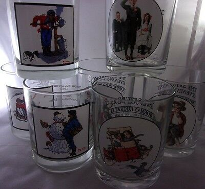 Set 6 Norman Rockwell Drinking Glass Tumblers Saturday Evening Post and Arby's