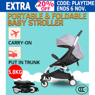 Portable Baby Stroller Pram Compact Lightweight Jogger Carry-on Newborn Gray