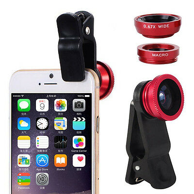Red 3 In 1 Fish Eye+Macro+Wide Angle Clip On Lens Camera Set For Mobile Phone