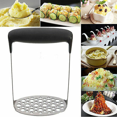 Stainless Steel Metal Potato Masher Ricers Wide Grip heavy duty Maker Crusher UK